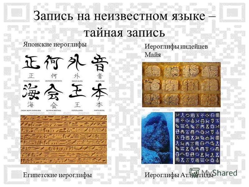 Запись на неизвестном языке – тайная запись Японские иероглифы Египетские иероглифы Иероглифы индейцев Майя Иероглифы Атлантиды