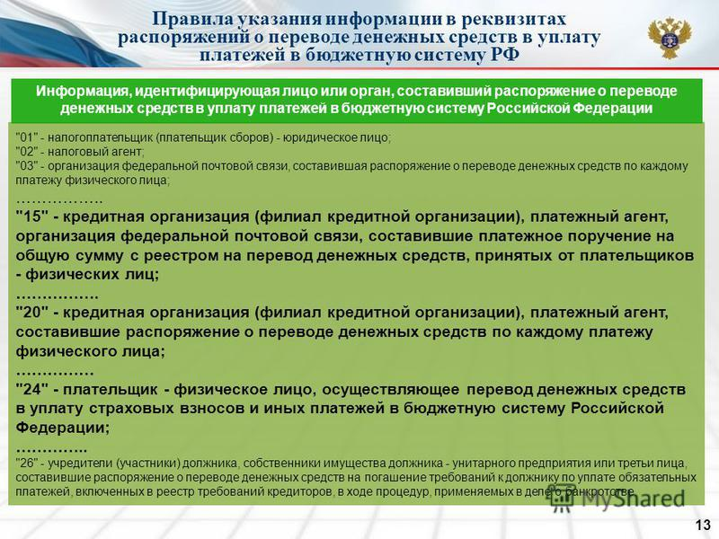 Правила указания информации в реквизитах распоряжений о переводе денежных средств в уплату платежей в бюджетную систему РФ