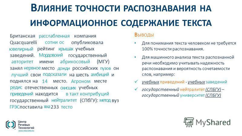 В ЛИЯНИЕ ТОЧНОСТИ РАСПОЗНАВАНИЯ НА ИНФОРМАЦИОННОЕ СОДЕРЖАНИЕ ТЕКСТА Британская консалтинговая компания Quacquarelli Symonds (QS) опубликовала всемирный рейтинг высших учебных заведений. Московский государственный университет имени М.В. Ломоносова (МГ