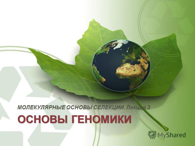 ОСНОВЫ ГЕНОМИКИ МОЛЕКУЛЯРНЫЕ ОСНОВЫ СЕЛЕКЦИИ. Лекция 3