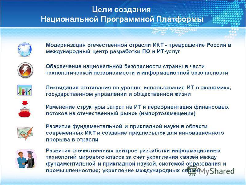 Модернизация отечественной отрасли ИКТ - превращение России в международный центр разработки ПО и ИТ-услуг Обеспечение национальной безопасности страны в части технологической независимости и информационной безопасности Ликвидация отставания по уровн