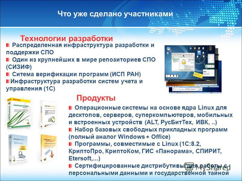 Операционные системы на основе ядра Linux для десктопов, серверов, суперкомпьютеров, мобильных и встроенных устройств (ALT, Рус БитТех, ИВК,..) Набор базовых свободных прикладных программ (полный аналог Windows + Office) Программы, совместимые с Linu