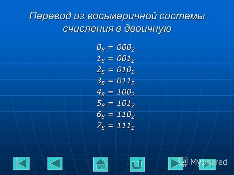 Перевод из восьмеричной системы счисления в двоичную 0 8 = 000 2 1 8 = 001 2 2 8 = 010 2 3 8 = 011 2 4 8 = 100 2 5 8 = 101 2 6 8 = 110 2 7 8 = 111 2