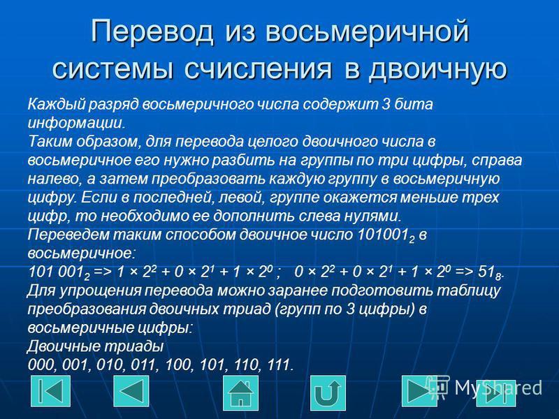 Перевод из восьмеричной системы счисления в двоичную Каждый разряд восьмеричного числа содержит 3 бита информации. Таким образом, для перевода целого двоичного числа в восьмеричное его нужно разбить на группы по три цифры, справа налево, а затем прео