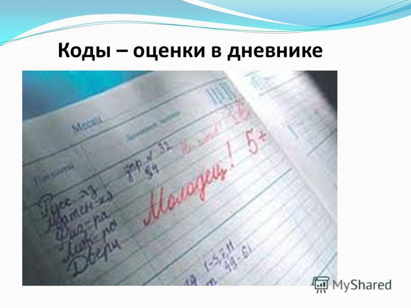 Коды – оценки в дневнике