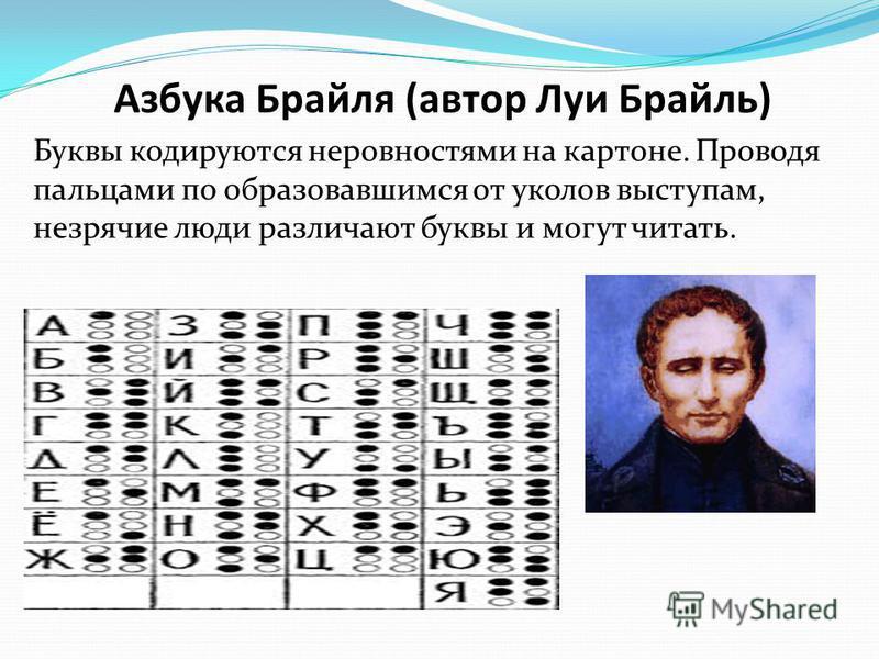 Азбука Брайля (автор Луи Брайль) Буквы кодируются неровностями на картоне. Проводя пальцами по образовавшимся от уколов выступам, незрячие люди различают буквы и могут читать.