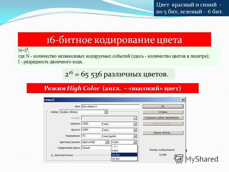 16-битное кодирование цвета 2 16 = 65 536 различных цветов. Режим High Color (англ. – «высокий» цвет) Цвет красный и синий - по 5 бит, зеленый – 6 бит.