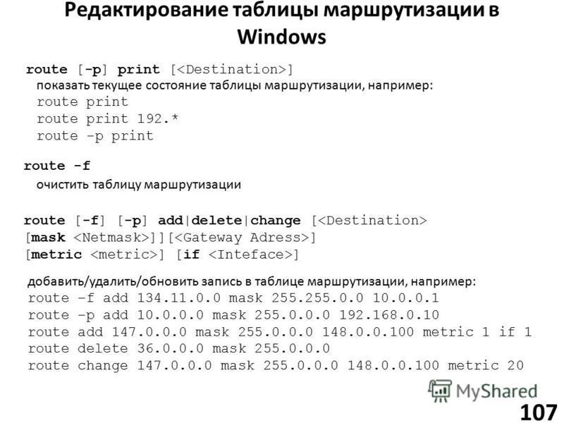 Редактирование таблицы маршрутизации в Windows 107 route [-p] print [ ] показать текущее состояние таблицы маршрутизации, например: route print route print 192.* route -p print route [-f] [-p] add|delete|change [ [mask ]][ ] [metric ] [if ] добавить/