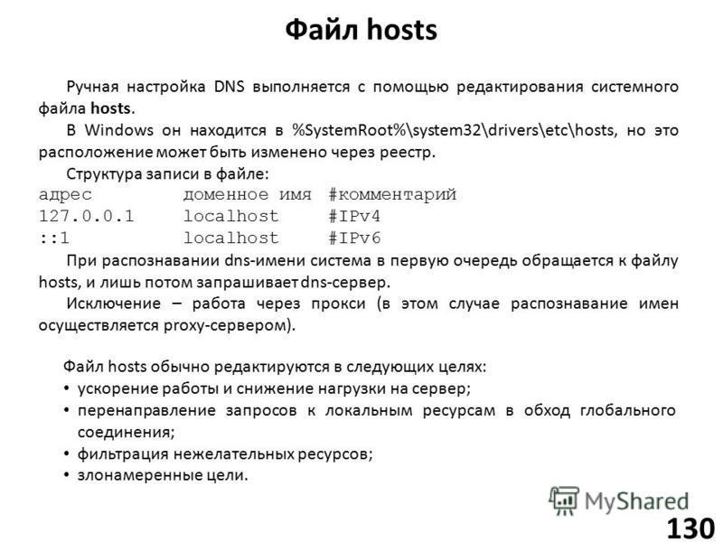 Файл hosts 130 Ручная настройка DNS выполняется с помощью редактирования системного файла hosts. В Windows он находится в %SystemRoot%\system32\drivers\etc\hosts, но это расположение может быть изменено через реестр. Структура записи в файле: адресдо