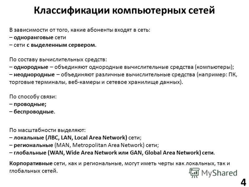 Классификации компьютерных сетей В зависимости от того, какие абоненты входят в сеть: – одноранговые сети – сети с выделенным сервером. По масштабности выделяют: – локальные (ЛВС, LAN, Local Area Network) сети; – региональные (MAN, Metropolitan Area