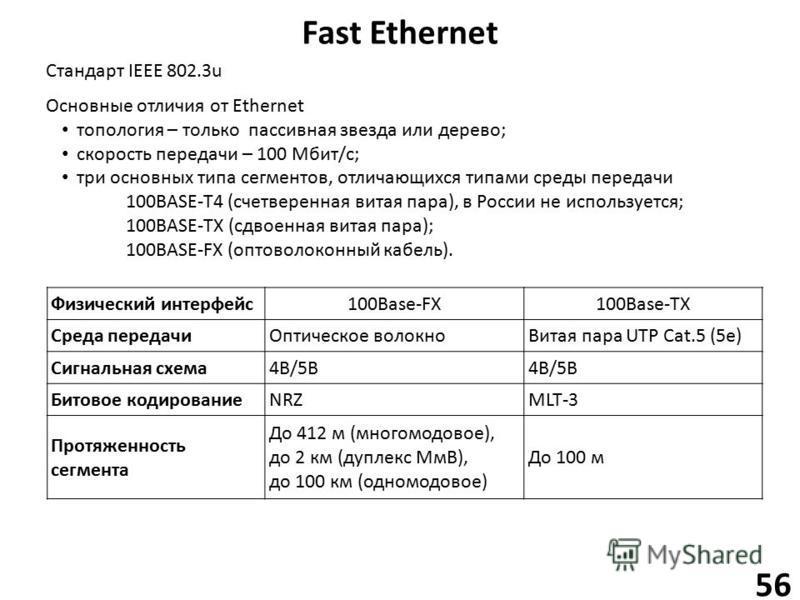 Fast Ethernet 56 Основные отличия от Ethernet топология – только пассивная звезда или дерево; скорость передачи – 100 Мбит/с; Стандарт IEEE 802.3u три основных типа сегментов, отличающихся типами среды передачи 100BASE-T4 (счетверенная витая пара), в