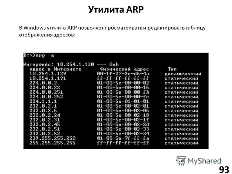 Утилита ARP 93 В Windows утилита ARP позволяет просматривать и редактировать таблицу отображения адресов: