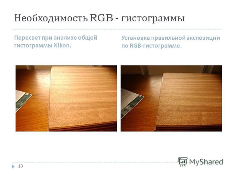 Необходимость RGB - гистограммы Пересвет при анализе общей гистограммы Nikon. Установка правильной экспозиции по RGB- гистограмме. 18