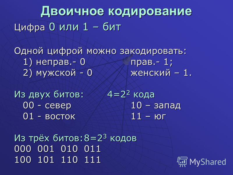 Двоичное кодирование Цифра 0 или 1 – бит Одной цифрой можно закодировать: 1) неправ.- 0 прав.- 1; 2) мужской - 0 женский – 1. Из двух битов:4=2 2 кода 00 - север 10 – запад 01 - восток 11 – юг Из трёх битов:8=2 3 кодов 000001010011 100101110111