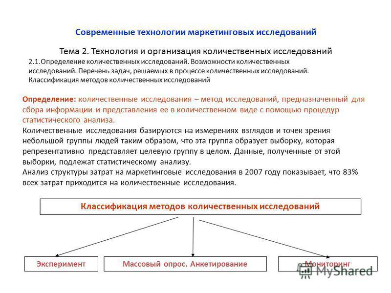 Тема 2. Технология и организация количественных исследований Современные технологии маркетинговых исследований 2.1. Определение количественных исследований. Возможности количественных исследований. Перечень задач, решаемых в процессе количественных и