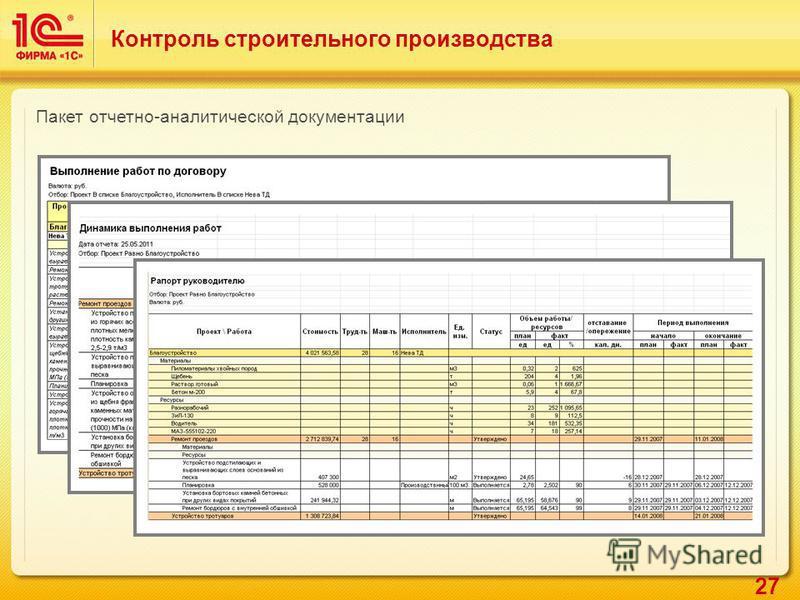 27 Контроль строительного производства Пакет отчетно-аналитической документации