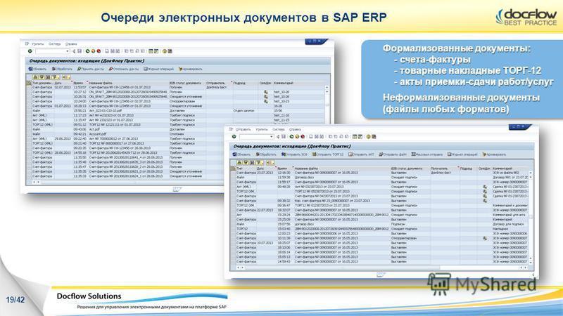 Очереди электронных документов в SAP ERP Формализованные документы: - счета-фактуры - товарные накладные ТОРГ-12 - акты приемки-сдачи работ/услуг Неформализованные документы (файлы любых форматов) 19/42