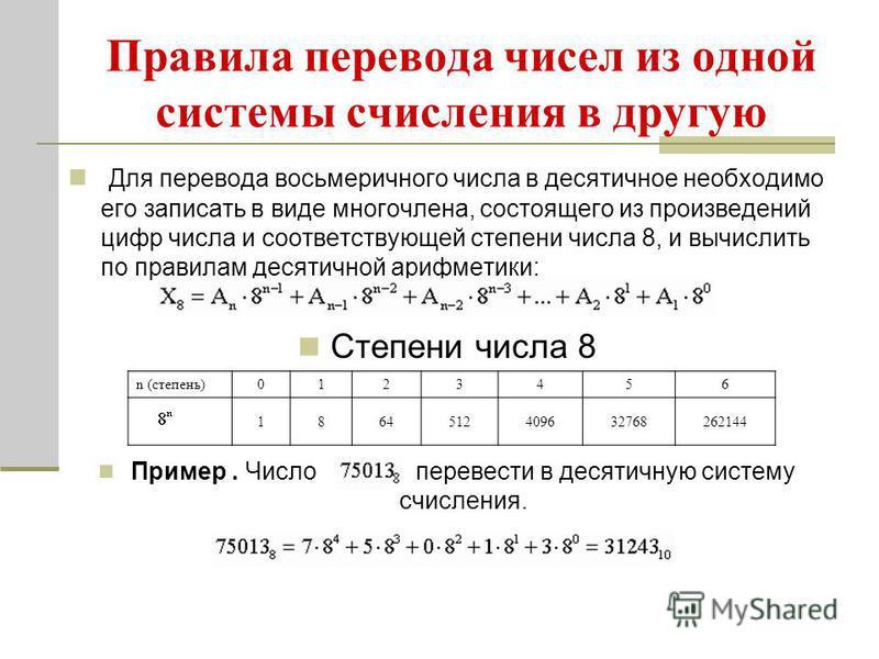 Правила перевода чисел из одной системы счисления в другую Для перевода восьмеричного числа в десятичное необходимо его записать в виде многочлена, состоящего из произведений цифр числа и соответствующей степени числа 8, и вычислить по правилам десят