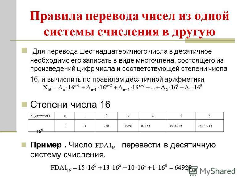 Правила перевода чисел из одной системы счисления в другую Для перевода шестнадцатеричного числа в десятичное необходимо его записать в виде многочлена, состоящего из произведений цифр числа и соответствующей степени числа 16, и вычислить по правилам