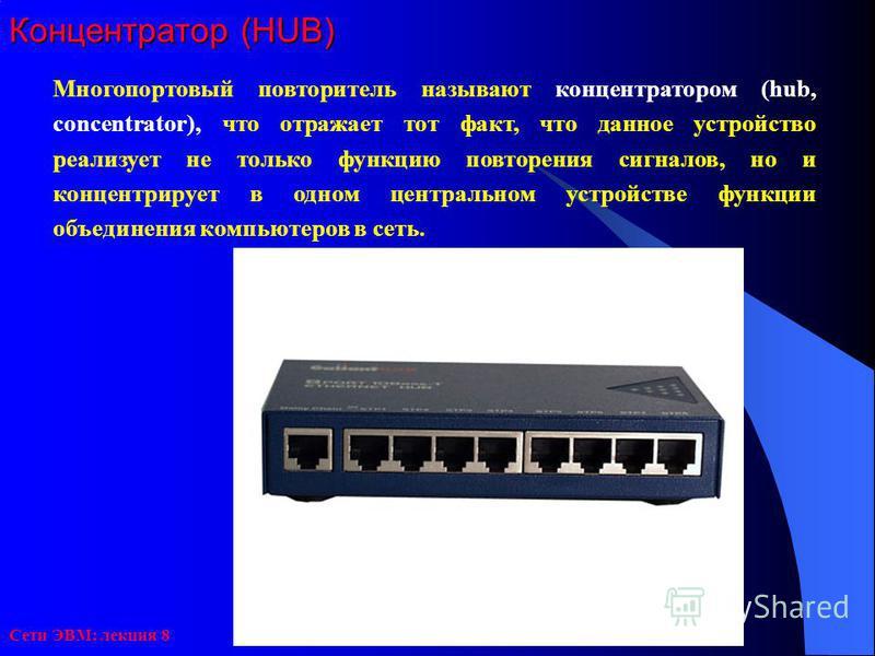 Сети ЭВМ: лекция 8 Концентратор (HUB) Многопортовый повторитель называют концентратором (hub, concentrator), что отражает тот факт, что данное устройство реализует не только функцию повторения сигналов, но и концентрирует в одном центральном устройст