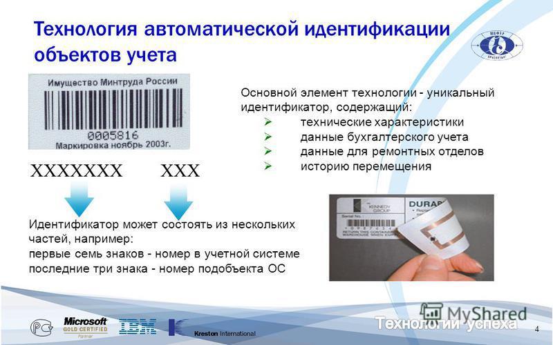 4 ХХХХХХХ ХХХ Идентификатор может состоять из нескольких частей, например: первые семь знаков - номер в учетной системе последние три знака - номер подобъекта ОС Основной элемент технологии - уникальный идентификатор, содержащий: технические характер