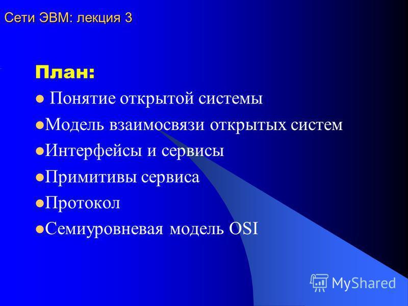 Сети ЭВМ: лекция 3 План: Понятие открытой системы Модель взаимосвязи открытых систем Интерфейсы и сервисы Примитивы сервиса Протокол Семиуровневая модель OSI