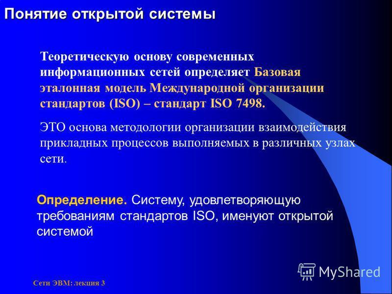 Сети ЭВМ: лекция 3 Понятие открытой системы Определение. Систему, удовлетворяющую требованиям стандартов ISO, именуют открытой системой Теоретическую основу современных информационных сетей определяет Базовая эталонная модель Международной организаци