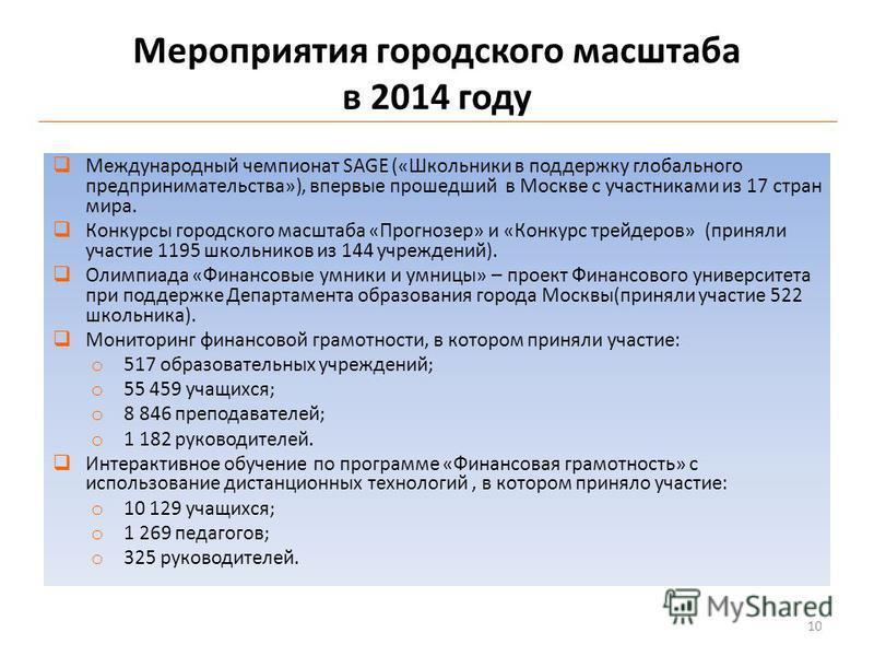 Мероприятия городского масштаба в 2014 году Международный чемпионат SAGE («Школьники в поддержку глобального предпринимательства»), впервые прошедший в Москве с участниками из 17 стран мира. Конкурсы городского масштаба «Прогнозер» и «Конкурс трейдер