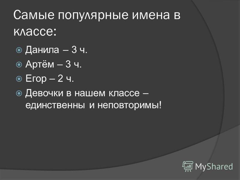 Самые популярные имена в классе: Данила – 3 ч. Артём – 3 ч. Егор – 2 ч. Девочки в нашем классе – единственны и неповторимы!