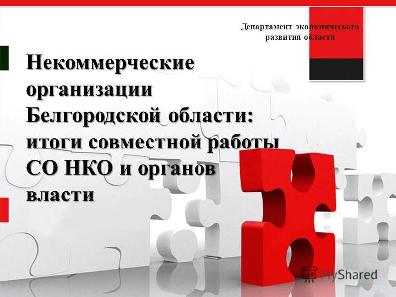 Некоммерческие организации Белгородской области: итоги совместной работы СО НКО и органов власти Департамент экономического развития области