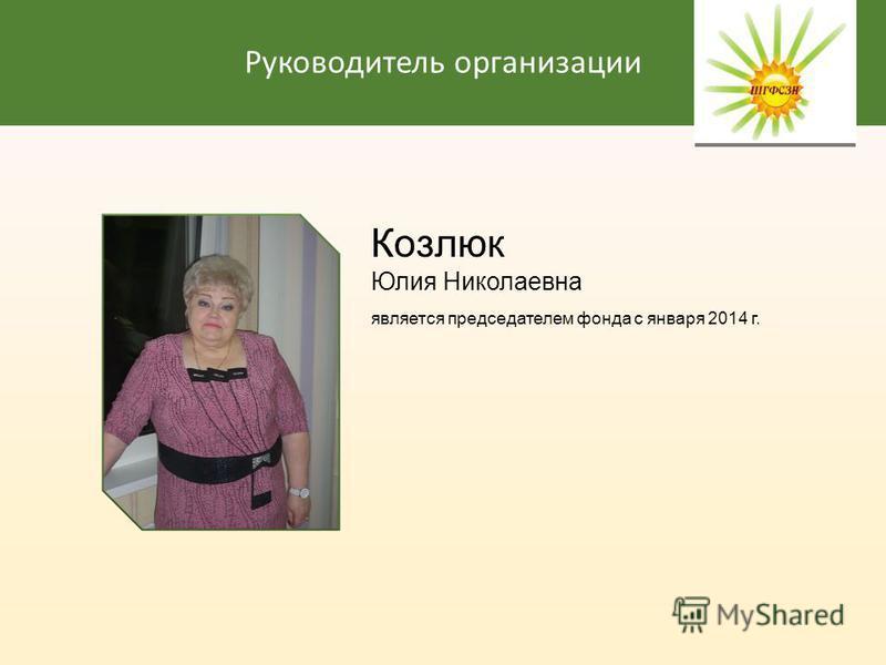 Руководитель организации Козлюк Юлия Николаевна является председателем фонда с января 2014 г.