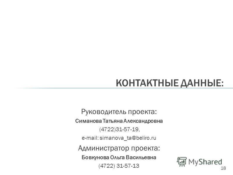 18 Руководитель проекта: Симанова Татьяна Александровна (4722)31-57-19, е-mail: simanova_ta@beliro.ru Администратор проекта: Бовкунова Ольга Васильевна (4722) 31-57-13 КОНТАКТНЫЕ ДАННЫЕ: