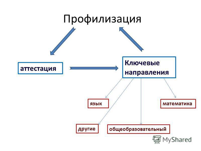 Профилизация аттестация Ключевые направления язык математика общеобразовательный другие