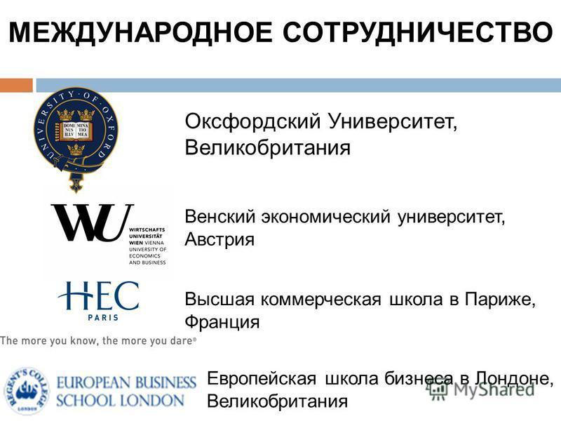 Венский экономический университет, Австрия МЕЖДУНАРОДНОЕ СОТРУДНИЧЕСТВО Европейская школа бизнеса в Лондоне, Великобритания Оксфордский Университет, Великобритания Высшая коммерческая школа в Париже, Франция