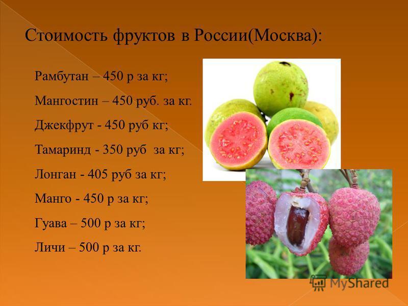 Стоимость фруктов в России(Москва): Рамбутан – 450 р за кг; Мангостин – 450 руб. за кг. Джекфрут - 450 руб кг; Тамаринд - 350 руб за кг; Лонган - 405 руб за кг; Манго - 450 р за кг; Гуава – 500 р за кг; Личи – 500 р за кг.