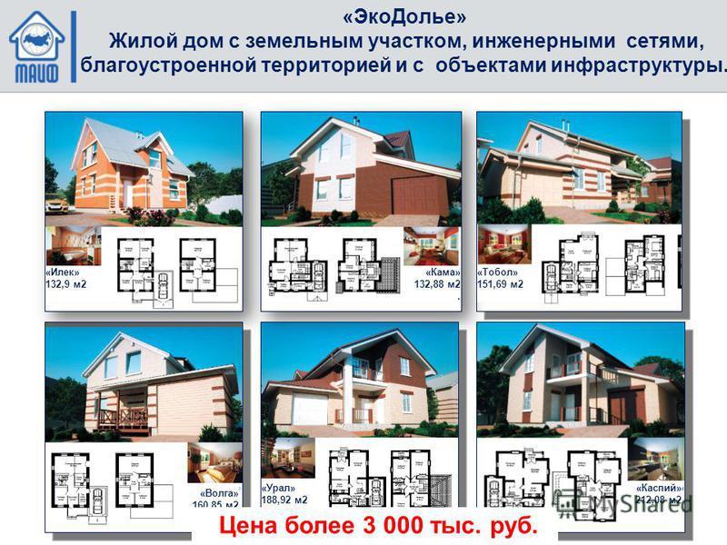 «Эко Долье» Жилой дом с земельным участком, инженерными сетями, благоустроенной территорией и с объектами инфраструктуры. «Илек» 132,9 м 2 «Кама» 132,88 м 2. «Тобол» 151,69 м 2 «Волга» 160,85 м 2 «Урал» 188,92 м 2 «Каспий» 212,08 м 2 Цена более 3 000