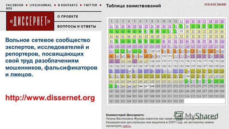 Вольное сетевое сообщество экспертов, исследователей и репортеров, посвящающих свой труд разоблачениям мошенников, фальсификаторов и лжецов. http://www.dissernet.org