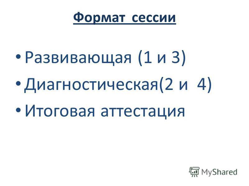 Формат сессии Развивающая (1 и 3) Диагностическая(2 и 4) Итоговая аттестация