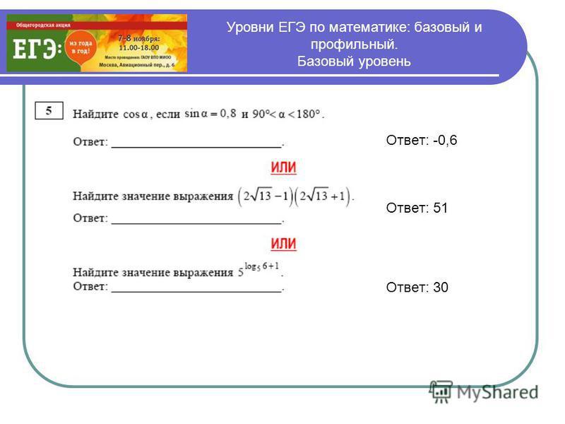 Уровни ЕГЭ по математике: базовый и профильный. Базовый уровень Ответ: -0,6 Ответ: 51 Ответ: 30
