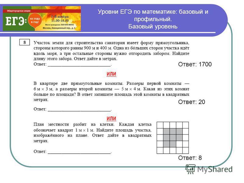 Уровни ЕГЭ по математике: базовый и профильный. Базовый уровень Ответ: 1700 Ответ: 20 Ответ: 8