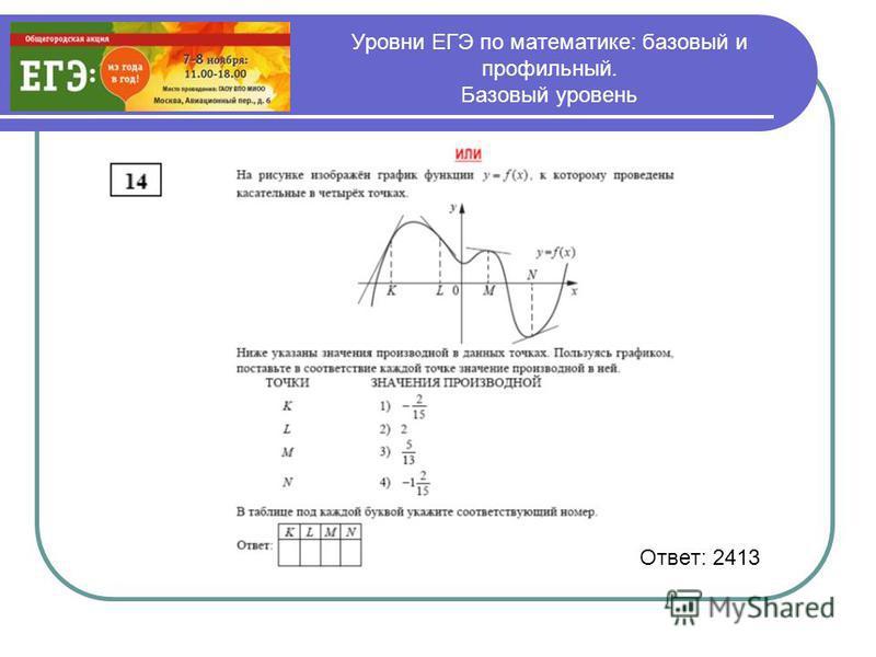 Уровни ЕГЭ по математике: базовый и профильный. Базовый уровень Ответ: 2413