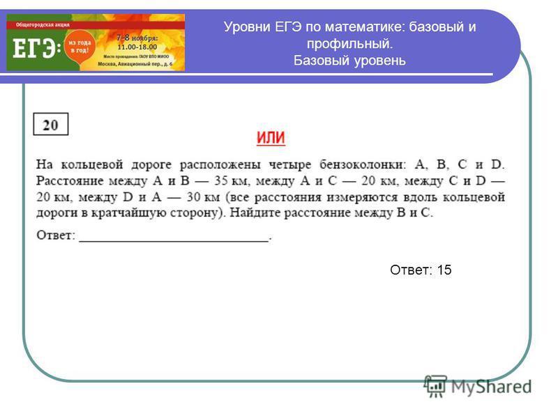 Уровни ЕГЭ по математике: базовый и профильный. Базовый уровень Ответ: 15