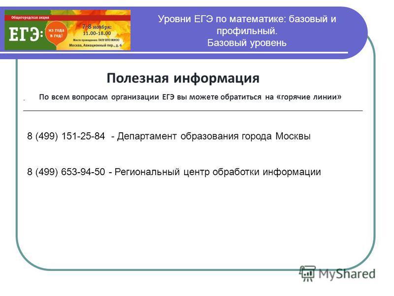 Уровни ЕГЭ по математике: базовый и профильный. Базовый уровень Полезная информация По всем вопросам организации ЕГЭ вы можете обратиться на « горячие линии » 8 (499) 151-25-84 - Департамент образования города Москвы 8 (499) 653-94-50 - Региональный
