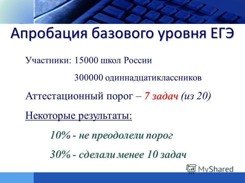 LOGO Участники: 15000 школ России 300000 одиннадцатиклассников 7 задач Аттестационный порог – 7 задач (из 20) 10% - не преодолели порог Некоторые результаты: 10% - не преодолели порог 30% - сделали менее 10 задач Апробация базового уровня ЕГЭ