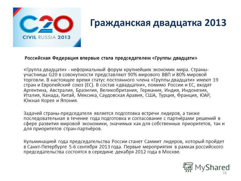 Гражданская двадцатка 2013 Российская Федерация впервые стала председателем «Группы двадцати» «Группа двадцати» - неформальный форум крупнейших экономик мира. Страны- участницы G20 в совокупности представляют 90% мирового ВВП и 80% мировой торговли.