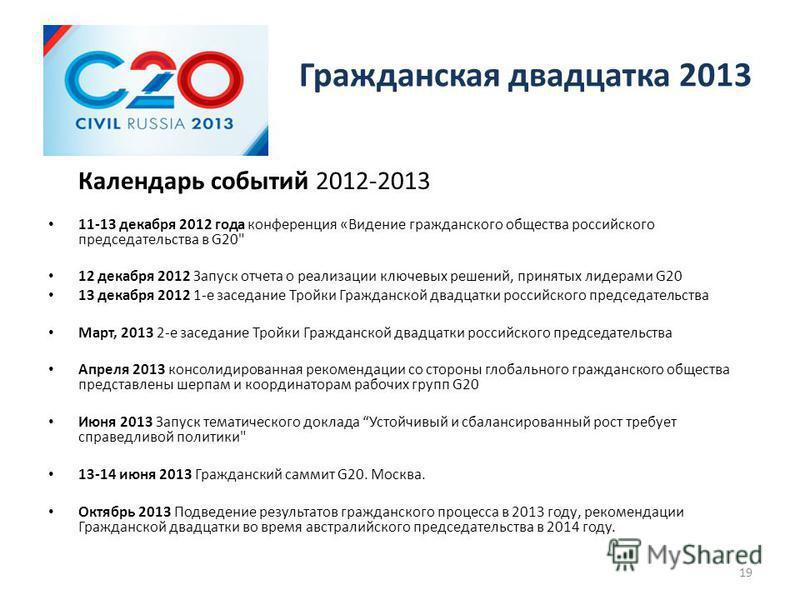 Гражданская двадцатка 2013 Календарь событий 2012-2013 11-13 декабря 2012 года конференция «Видение гражданского общества российского председательства в G20