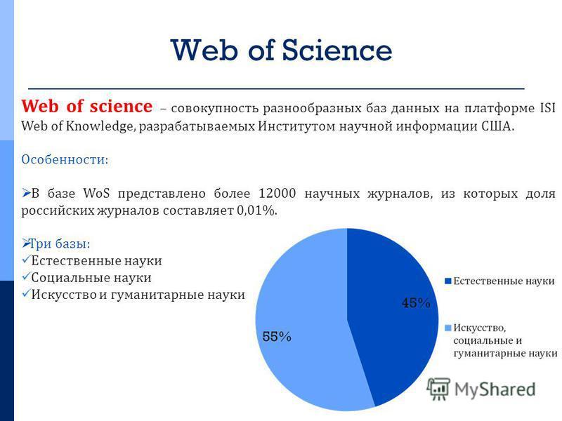 Web of Science Web of science – совокупность разнообразных баз данных на платформе ISI Web of Knowledge, разрабатываемых Институтом научной информации США. Особенности: В базе WoS представлено более 12000 научных журналов, из которых доля российских