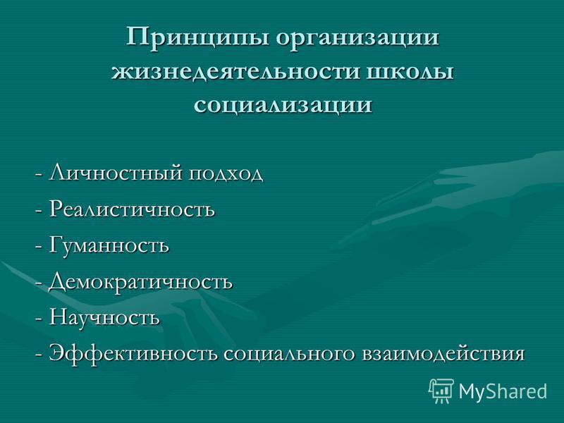 Принципы организации жизнедеятельности школы социализации - Личностный подход - Реалистичность - Гуманность - Демократичность - Научность - Эффективность социального взаимодействия