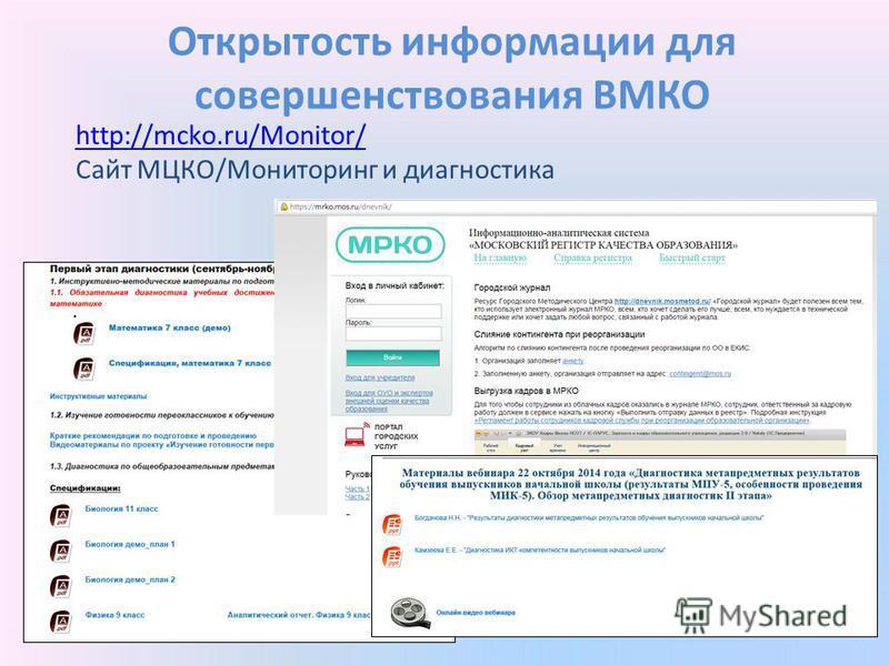 Открытость информации для совершенствования ВМКО http://mcko.ru/Monitor/ http://mcko.ru/Monitor/ Сайт МЦКО/Мониторинг и диагностика