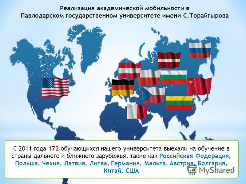 9 С 2011 года 172 обучающихся нашего университета выехали на обучение в страны дальнего и ближнего зарубежья, такие как Российская Федерация, Польша, Чехия, Латвия, Литва, Германия, Мальта, Австрия, Болгария, Китай, США Реализация академической мобил